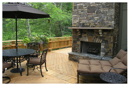 deck and fireplace in frederick, md